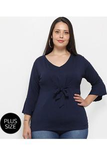 Blusa Blomma Plus Size Amarração Feminina - Feminino-Azul
