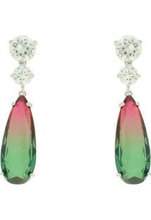 Brinco Lihanna Zirconia Cristal Rainbow Rubi E Verde Rodio U18A030011