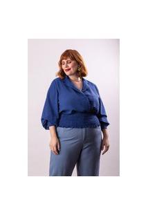 Blusa Texturizada Almaria Plus Size Lady More Transparenci Azul Marinho