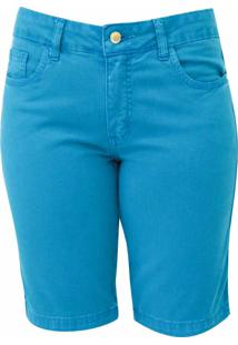Bermuda Pau A Pique Jeans Turquesa