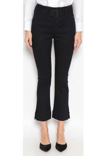Jeans Cropped Bootcut Com Cinto - Azul Escurodudalina
