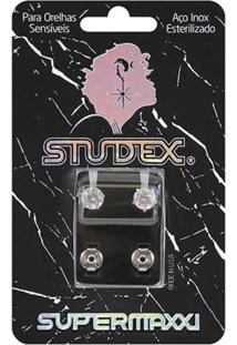 Brinco Studex Supermaxxi Prata Pedra Branca 1 Par
