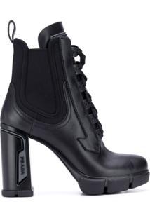 Prada Ankle Boot Com Amarração - Preto