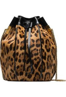 Saint Laurent Bolsa Saco 'Talitha' Com Animal Print - Marrom