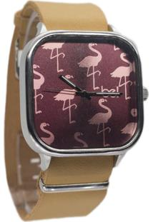 Relógio Bewatchoficial Pulseira De Couro Marrom Claro Flamingo