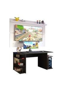 Mesa Para Computador Gamer E Painel Tv Madesa Preto/Branco Preto