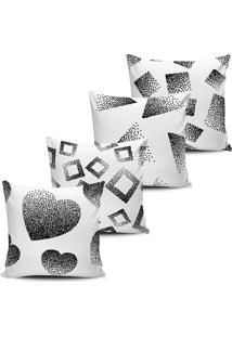 Kit 4 Capas Almofadas Abstrata Black White 45X45Cm - Multicolorido - Dafiti