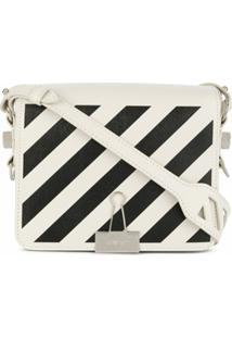 Off-White Diagonal-Stripe Binder-Clip Tote Bag - Branco
