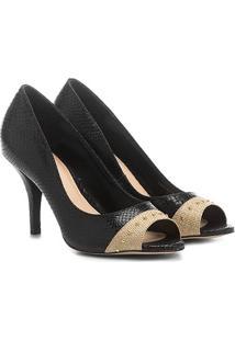 Peep Toe Couro Shoestock Salto Fino Cobra Ráfia - Feminino