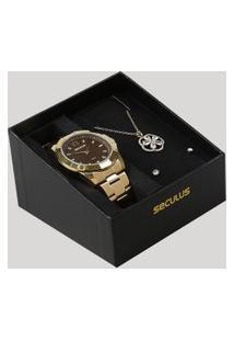 Kit De Relógio Analógico Seculus Feminino + Colar + Brinco De Pérola - 83380Lpmvbe2K Dourado