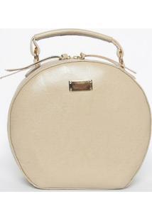 Bolsa Texturizada Em Couro- Bege- 19,5X22X7,5Cm-Di Marlys
