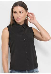 Camisa Regata Adooro! Lisa Bolso Feminina - Feminino-Preto