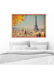 Quadro Love Decor Com Moldura Outono Em Paris Rose Metalizado Médio