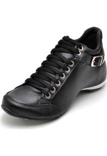 Bota Clube Do Sapato De Franca Top Confort 2 Fivela Feminina - Feminino-Preto