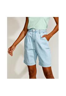 Bermuda Jeans Feminina Mindset Cintura Alta Com Pregas Azul Claro