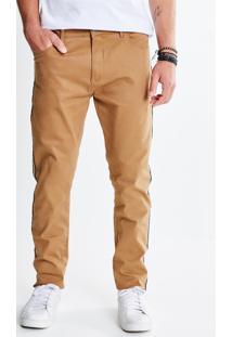 Calça Skinny Em Jeans Com Listra