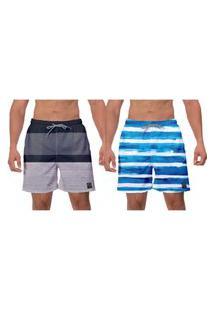 Kit 2 Shorts Cinza Listras Azuis Moda Praia Masculina Esporte Caminhada Surf Vôlei Banho Ajustável W2