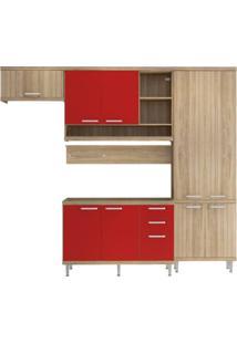 Cozinha Compacta Multimóveis Sicília 5838.132.694 Argila Vermelho Se