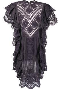 Isabel Marant Vestido De Crochê Com Babados - Roxo