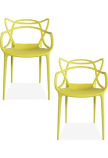 Kit 02 Cadeiras Decorativas Lyam Decor Amsterdam Amarelo.