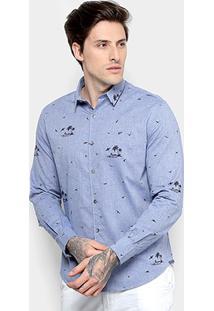 Camisa Ellus Seagulls Chambray Classic Masculina - Masculino-Azul Escuro