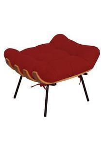 Puff Decorativo Sala De Estar Costela Suede Vermelho - Lyam Decor