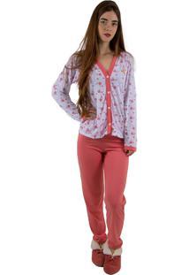 Pijama Linha Noite Longo Goiaba Flores