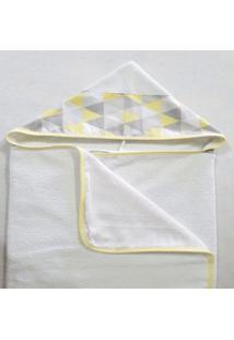 Toalha De Banho Revestida Com Capuz Losango Amarelo - Amarelo - Dafiti