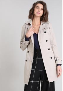 Casaco Trench Coat Feminino Transpassado Com Bolsos Bege Claro