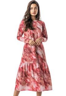 Vestido Rosa Midi Marmorizado