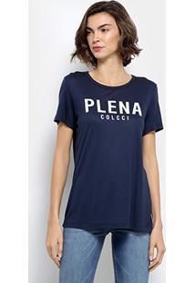 Camiseta Colcci Estampada Feminina - Feminino-Azul