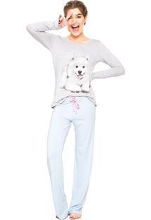 Pijama Any Any Enjoy And Smile Cinza/ Azul