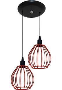 Luminária Aramado Modelo Balão - 02 Juntos Na Mesma Canopla - Vermelho