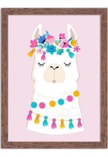 Quadro Decorativo Infantil Lhama Branco E Rosa Com Flores Madeira - Médio