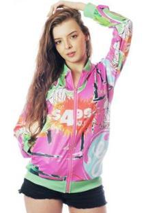 Jaqueta Elephunk Bomber Neon Estampada Full Print New York 02 - Feminino-Rosa