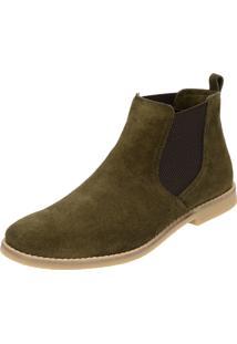 Botina Chelsea Boots Verde Militar Atron Shoes Couro Camurça 502