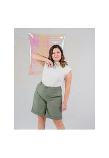 Bermuda Lisa Almaria Plus Size Miss Taylor Barra Dobrada Verde
