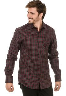 Camiseta Bypride Manga Longa Xadrez Vermelha/Preto