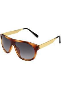 Óculos De Sol Ray Flector Underground 260Co Feminino - Feminino-Marrom Escuro+Dourado