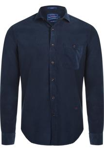 Camisa Masculina Veludo Lisa - Azul