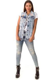 Colete Jeans Opera Rock Feminino - Feminino