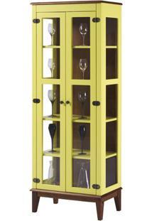 Cristaleira Bia 2 Portas Cor Amarelo Com Amendoa 180 Cm - 62927 - Sun House
