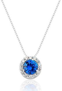 Colar Prata Rara Princesa Cristal Azul