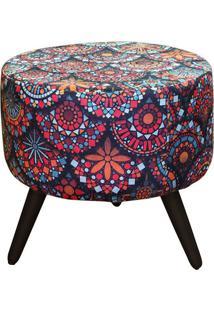 Puff Decorativo Alegria Mandala 1 Lugar Com Revestimento Suede - Matrix
