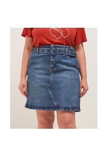 Saia Jeans Liso Curta Botões Forrados E Cinto Curve E Plus Size Azul