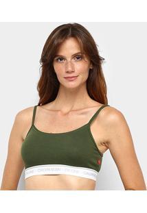 Sutiã Top Calvin Klein Alças Ck One Basic - Feminino-Verde