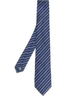 Lanvin Gravata De Seda Listrada - Azul