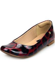 Sapatilha Love Shoes Bico Redondo Conforto Básica Verniz Onça Vinho - Kanui