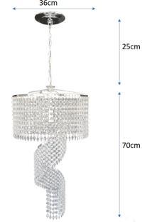Lustre Pendente De Cristal Acrílico Alto Brilho 36X95 Lina Design Ac12 - Kanui
