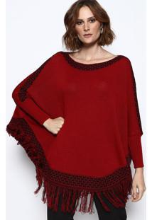 Blusa Em Tricã´ Com Franja - Vermelha & Preta - Vip Rvip Reserva